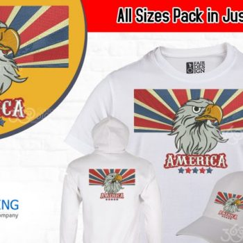 Buy American Eagle Machine Embroidery Design For Cap | Jacket Back | Full Chest & Left Chest Pack in All sizes