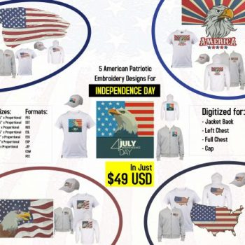 5 American Patriotic Complex Machine Embroidery Designs Pack in Just $49