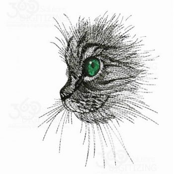 Cute Cat Face Silhouette Machine Embroidery Design Digitized for Sale