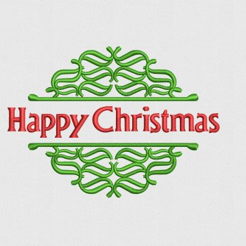Happy Christmas Logo Digitized for Machine Embroidery Buy Online $5 Only
