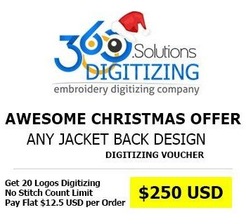 Christmas Discount Offer on Jacket Back Embroidery Digitizing: Get any 20 JACKET BACK Designs Digitized for just $12.50 USD Each