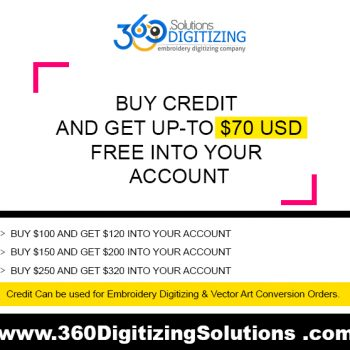 Get Free Credit into your Account for Embroidery Digitizing & Vector Art Conversion