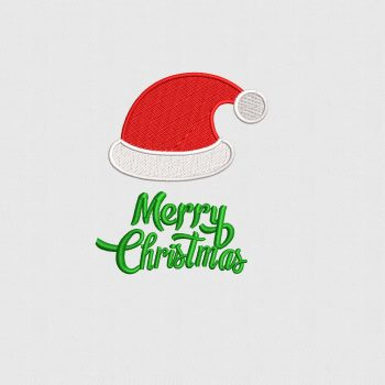 Buy Merry Christmas Hat Embroidery Design Digitized for Machine Embroidery