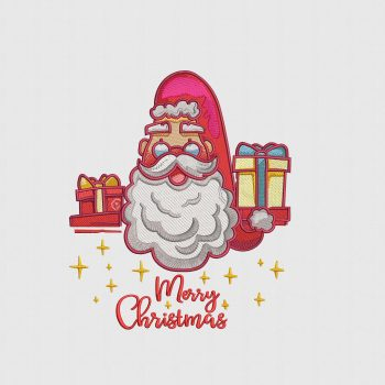 Buy Santa Merry Christmas Embroidery Design Digitized for Machine Embroidery