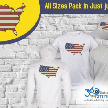 America Flag Digitized for Embroidery For Cap | Jacket Back | Full Chest & Left Chest Pack in All sizes.