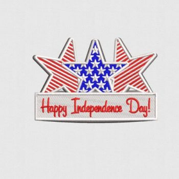 Happy Independence Day - USA 243rd Independence Day Badge Digitized for Embroidery
